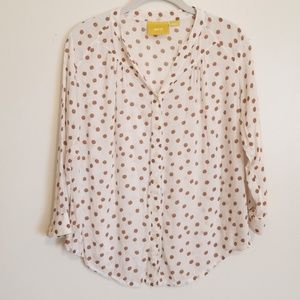 Anthropologie Mauve Polka Dot Blouse Top